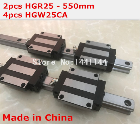 HG linear guide 2pcs HGR25 - 550mm + 4pcs HGW25CA linear block carriage CNC parts 2pcs original hiwin linear rail hgr25 550mm with 4pcs hgw25ca flange block cnc parts