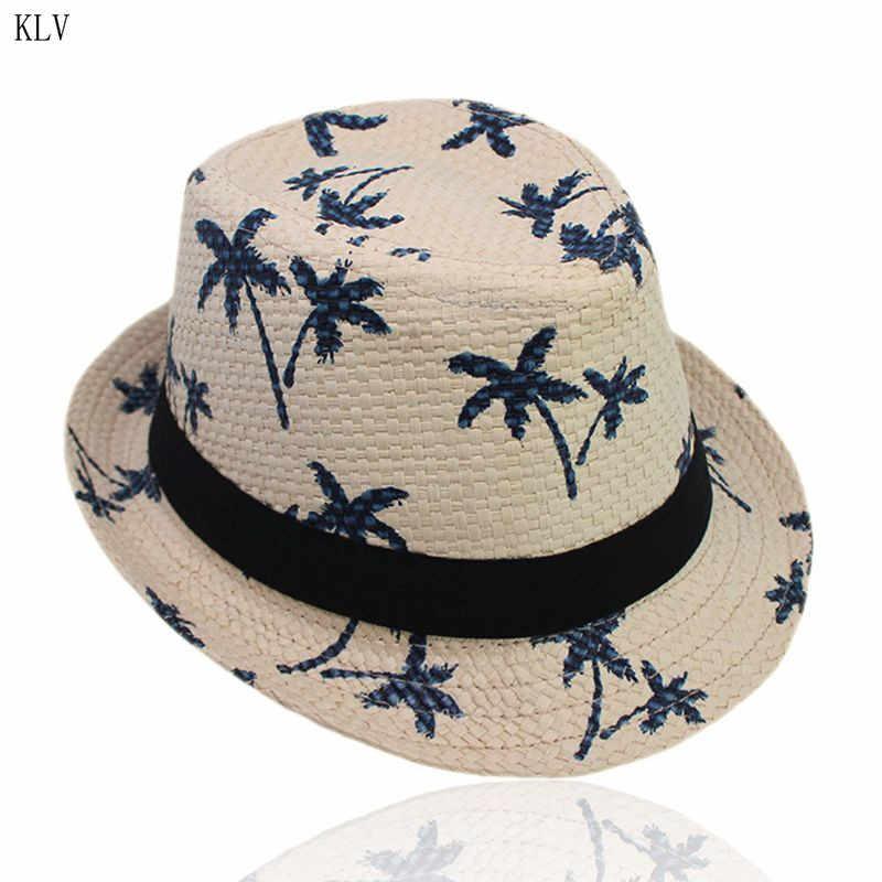 מבוגרים ילדים קיץ קש Weave שמש ההורה לילד עץ מודפס קצר מתולתל שולי רטרו ג 'אז דלי כובע רחב סרט וחוף