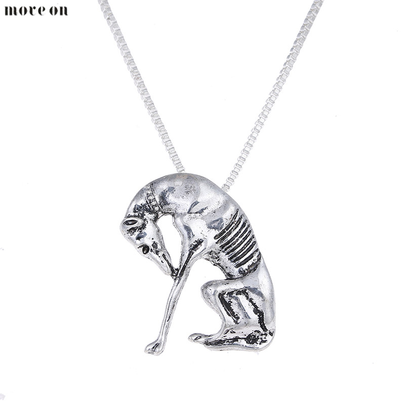 10PCS Antique Silver Thinking Statue Greyhound Necklace Dog Pendant Whippet Necklaces Choker Halloween Gift