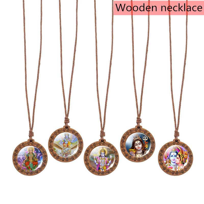 Wooden Lakshmi Necklace Buddha Pendant Indian Buddhism Woven Jewelry Amulet Charm Lover Gifts