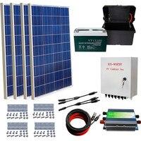400 Вт от сетки Солнечный комплект 4x100 Вт солнечная панель + 100AH батарея + Солнечная комбинированная коробка Солнечный комплект для дома
