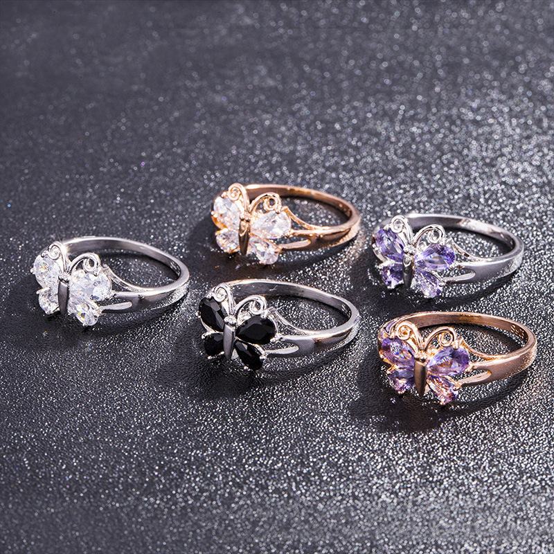 5 colors fashion rose gold butterfly purple zircon ring For women Cherry blossoms, ivory white rings size 6-10