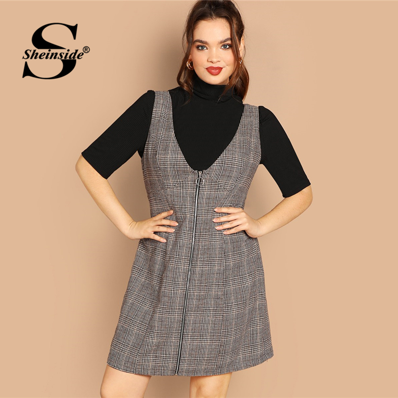 f019bd1af57dc Sheinside Plus Size Casual Coffee Zip Up Knee Length Dress Women 2019 Spring  Classic Plaid Dresses