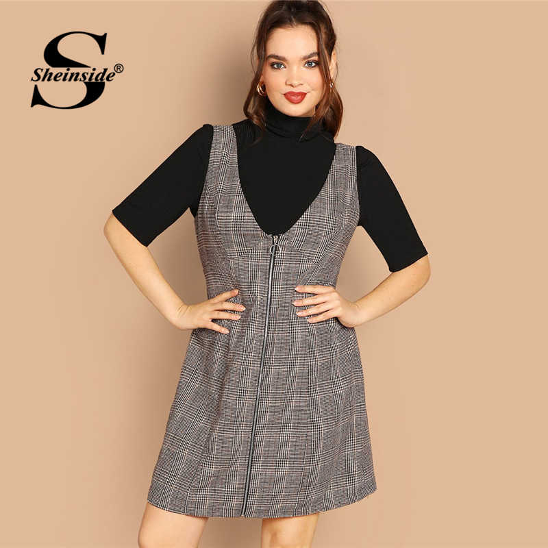 d7f2e9fc18 Sheinside Plus Size Casual Coffee Zip Up Knee Length Dress Women 2019  Spring Classic Plaid Dresses