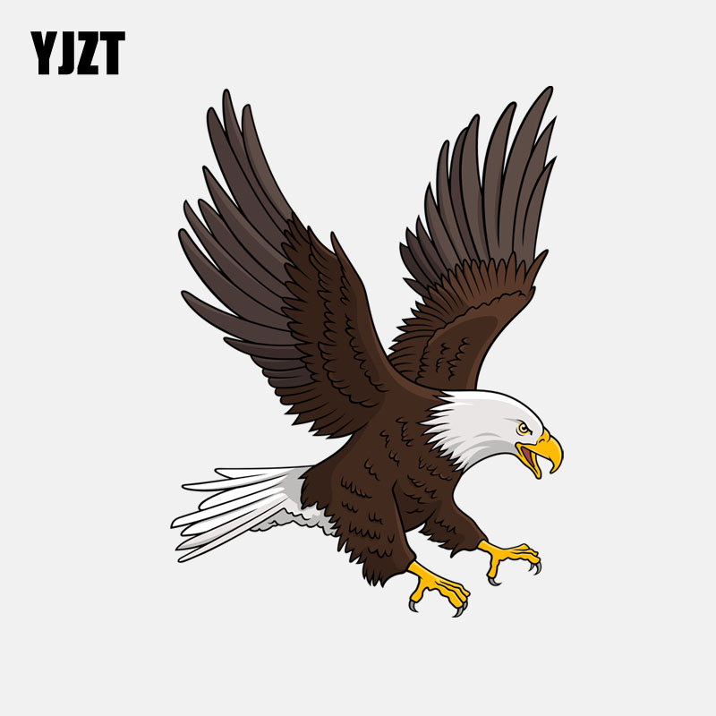YJZT 12.7CM*17.2CM White-Headed Eagle Hits The Sky PVC Motorcycle Car Sticker 11-01192