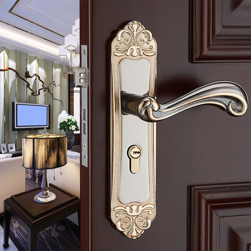 Modern simple gold bedroom bookroom door lock black indoor lock Mechanical handle lock bearing lock body european fashion ivory white bedroom bookroom door lock amber white indoor lock mechanical handle lock bearing lock body crystal