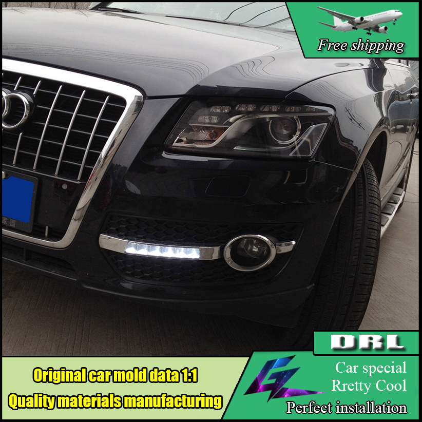Car Styling DRL Kit For Audi Q5 2010 2011 2012 LED Daytime Running Light Bar super bright auto fog lamp daylight Drl light car drl kit for audi a4 l b8 2009 2012 led daytime running light bar super bright auto fog lamp daylight for car led drl light