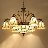 Pastorale stijl kroonluchters Mediterrane Kleur indoor kroonluchter woonkamer Interieur Indoor Hang Licht Tiffany kroonluchters