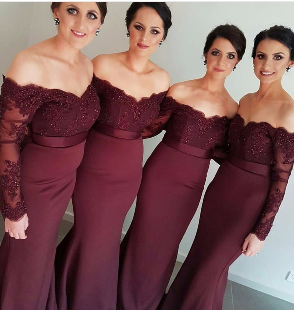 Long Sleeves Off The Shoulder Mermaid Burgundy Bridemaid Dresses African Appliqued Lace Prom Dress Wedding Party Gowns