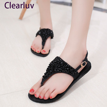 Women's sandals new summer fashion rhinestone shoes ladies beach shoes crystal beauty casual shoes women  C0615 bohemian sandals for women wedge shoes crystal decoration grey army green shoes ladies cute casual shoes rhinestone sandals