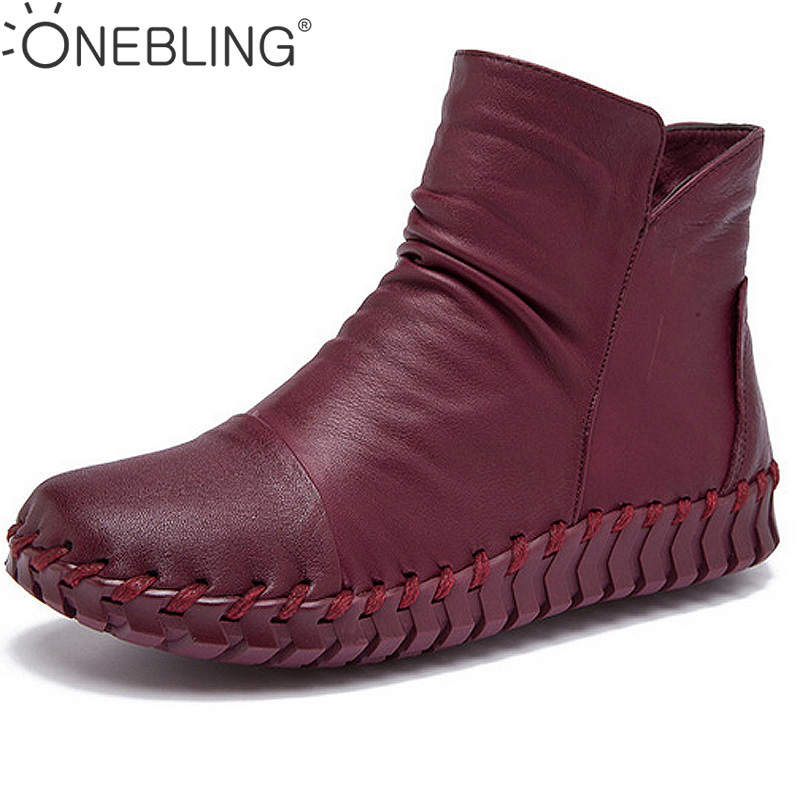 Size 35-40 Round Toe Sewing Shoes 2017 Spring Autumn Genuine Leather Pleated Women Ankle Boots Soft Short Boots Femal Flat shoes 2017 new genuine leather elastic band chunky women ankle boot casual round toe anti skid spring autumn flat short boots zy170919