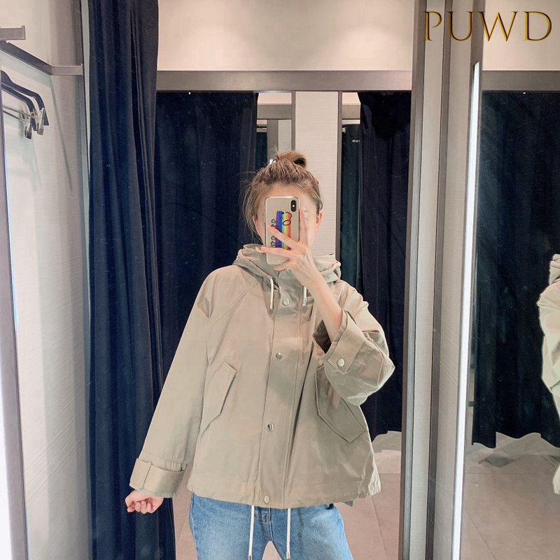 2019 Women's Autumn Loose Solid Simple Loose Style Jacket Short Windbreaker