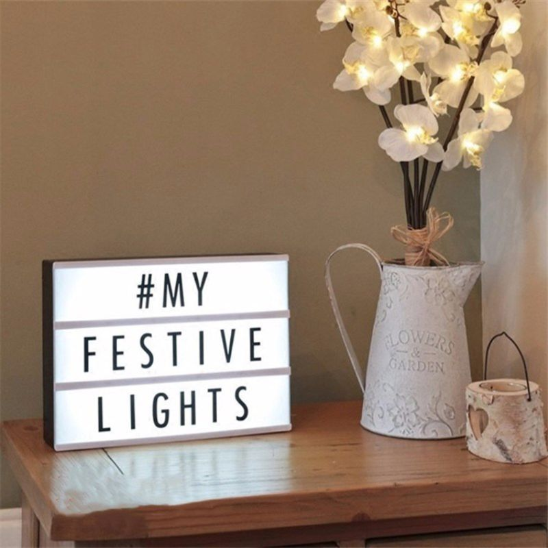 LED Light Box DIY Black Letters Cards Combination Night Lamp Room Decor A4 Size USB Powered Battery
