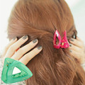 Candy-colored crab claw clip hair caught hairpin hollow triangle Child Adult dual-use hair accessories   Women Hair Accessories