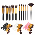 Profesional 11 Unids MINI Comestic Maquillaje Herramientas Fundación Sombra de Ojos Blush negro Cepillo de Pelo de Nylon de Color Marrón de Pelo de Lana Mango de madera