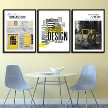 Quote HD Picture Wall Art Canvas Painting Abstract Decor Yellow Bike And House Landscape Nordic Poster Prints Photo Pop Simple(China)
