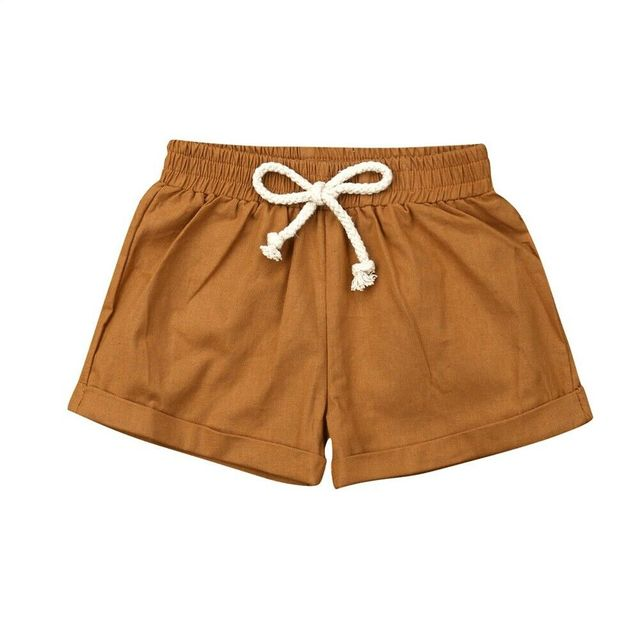 brown linen cotton baby shorts