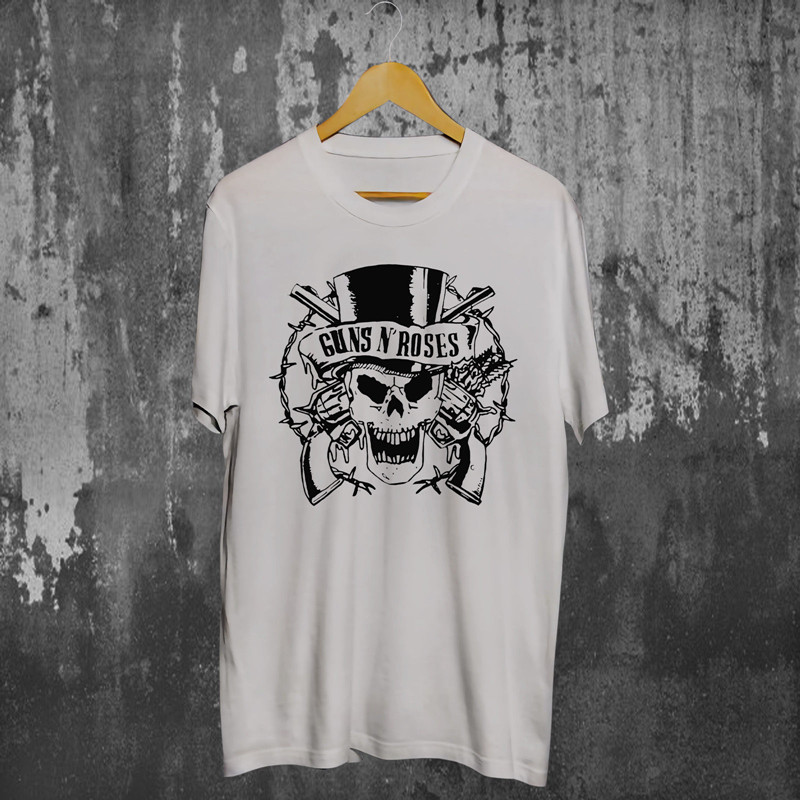T Shirt Design MenS Guns N Roses Slash Skull White Gift O-Neck Short-Sleeve Shirts