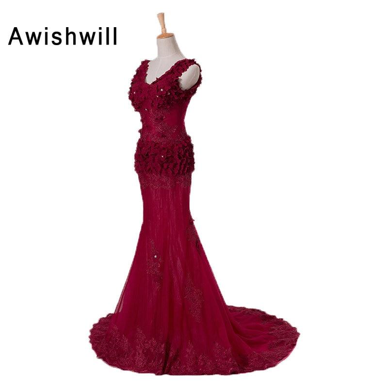 New Arrival 2019 Sexy Party Dress Illusion Design V-neck Flowers Applique Mermaid Dresses Long Burgundy Prom Dresses Transparent