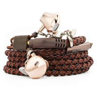 Urizons Brown Fabric Braided bracelet earphones Dynamic Headset For Mobile Iphone HUAWEI OPPO Earphone Wired Earphones With Mic
