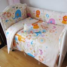 Promotion! 9PCS Full Set  baby bed set cartoon Cute Baby Crib bedding set,4bumper/sheet/pillow/duvet,120*60/120*70cm
