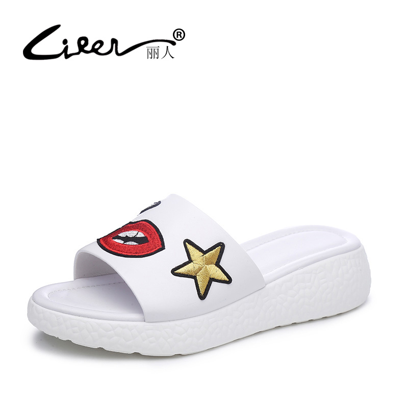 LIREN Brand 2017 New Summer Genuine Leather Women Shoes Slippers Wedges Black/White Causal Genuine Cow Leather Flats Shoes Woman