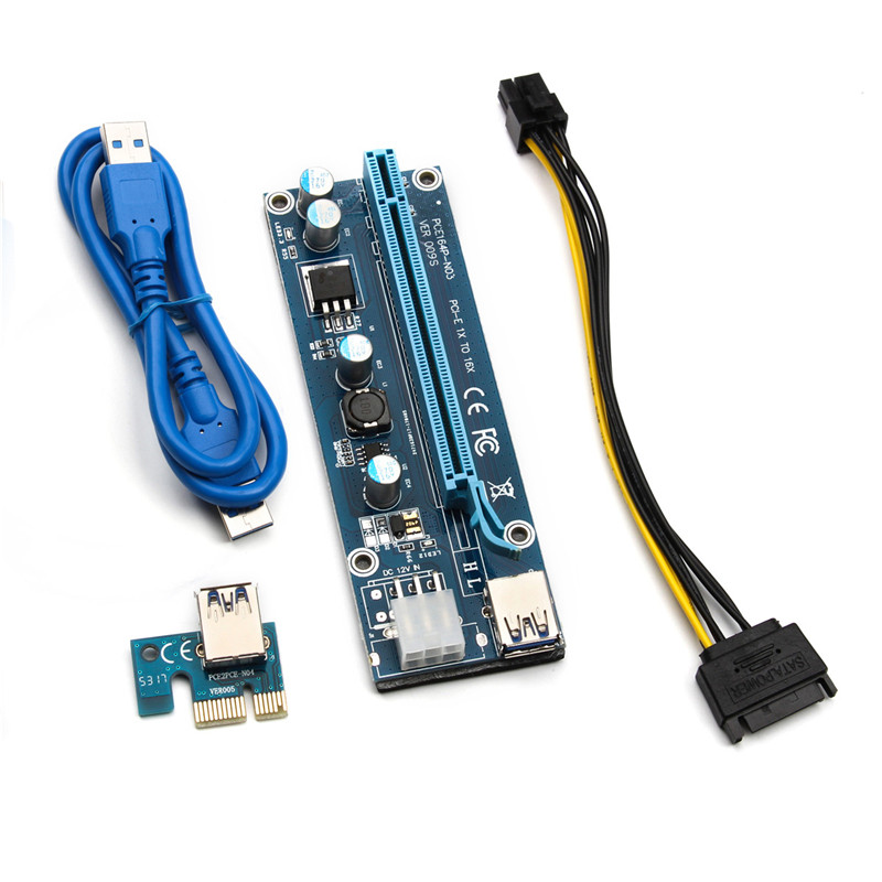 6pcs/lot 009S PCI e USB 3.0 Wire Miner 1x To 16x Extender Riser Card Cable Adapter With LED Light Wire Power Cable Connector Kit