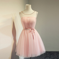 Blush Pink Prom Dresses Jewel Neck Tulle Short Party Gowns With Sash Cute Homecoming Dresses Graduation