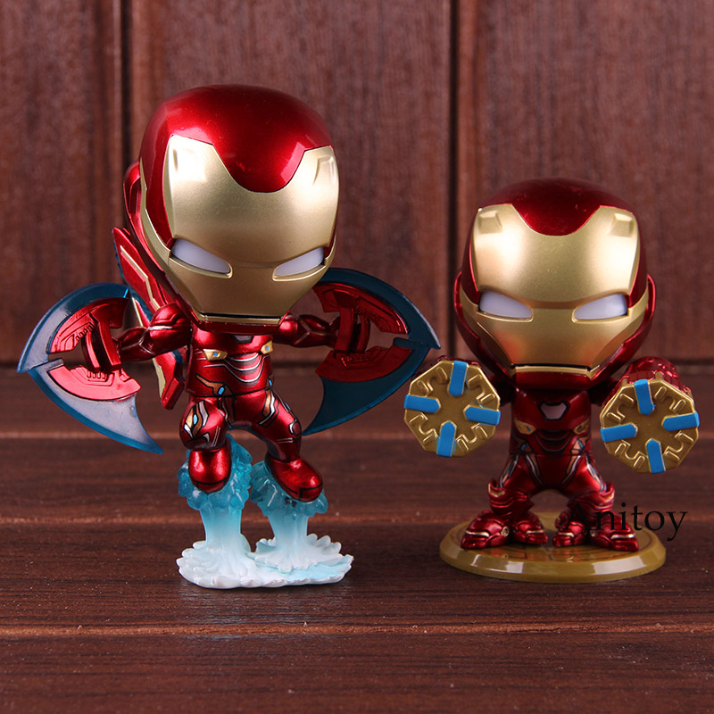 US $12 03 22% OFF|Hot Toys Cosbaby Infinity War Avengers Toys Iron Man Mark  L with LED Light Bobblehead Figure Action PVC Collectible Model Toy-in