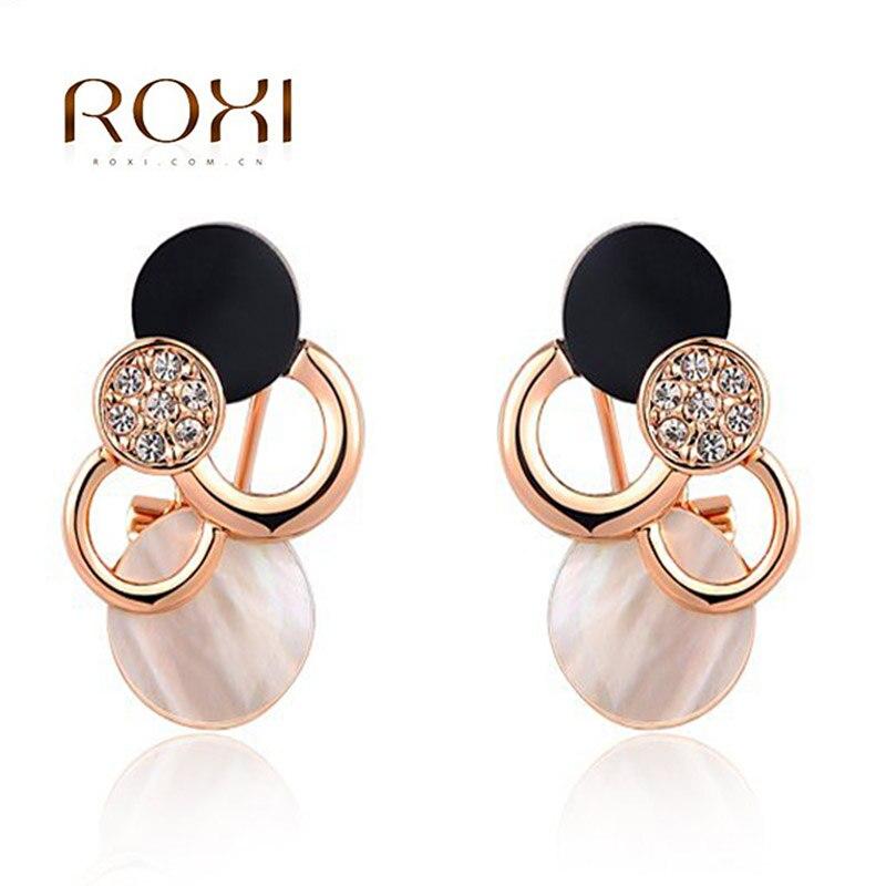 ROXI Women Stud Earrings Cloud Elegant Crystal Earrings Rose Geometric Statement Fashion Jewelry 2018 pendientes mujer moda gold big circle geometric statement stud earrings
