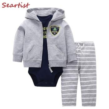 f9ff4eab1 Sertista ropa de bebé niño recién nacido 3 piezas conjunto de ropa otoño  sudaderas con capucha + mameluco + pantalones traje de los niños traje de  niños ...