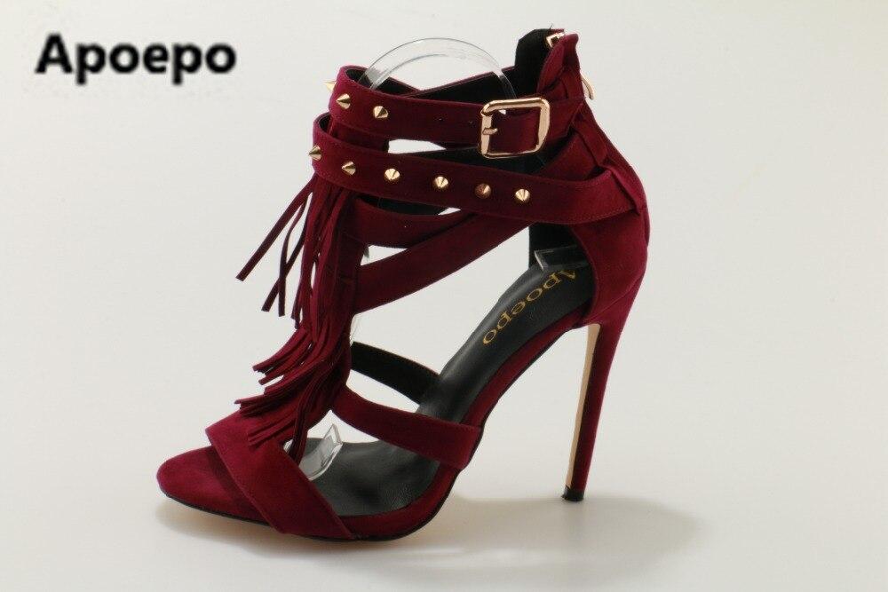 Apoepo brand 2017 sandals feminina red shoes women sandals fringe sandals peep toe rivet sandals high heels shoes women's luxury brand shoes women peep toe