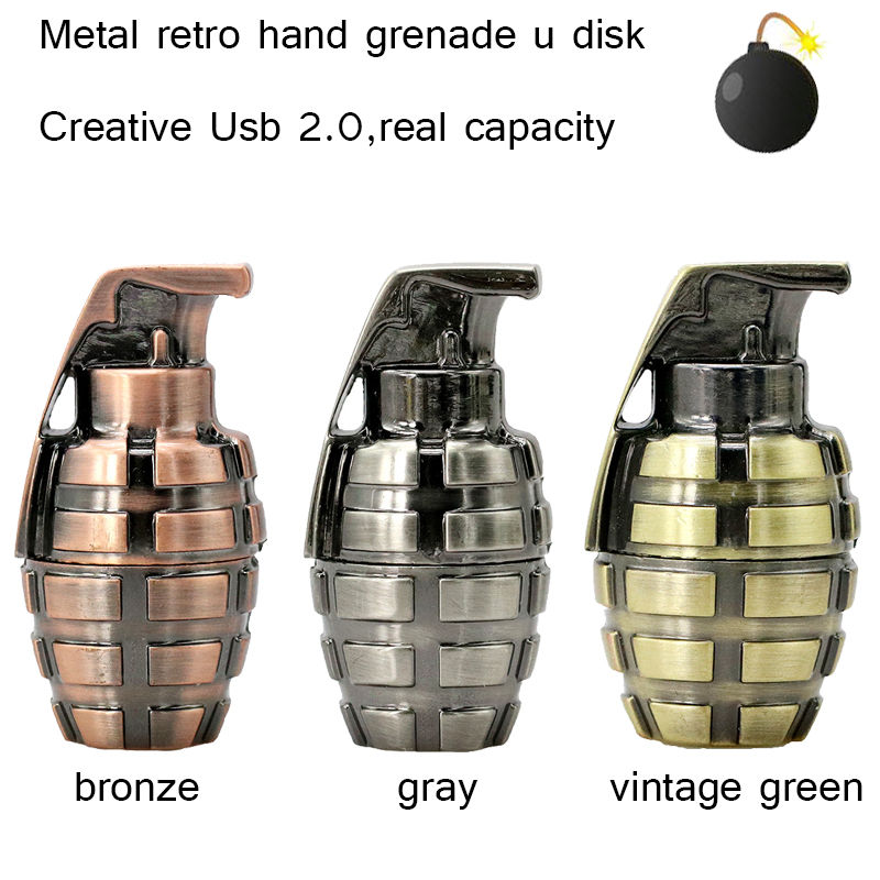 Nuevo Mini metal retro granada de mano unidad flash USB 64 gb usb 2.0 pen drive16GB stick de memoria flash u disco pen drive 32 gb pendriver