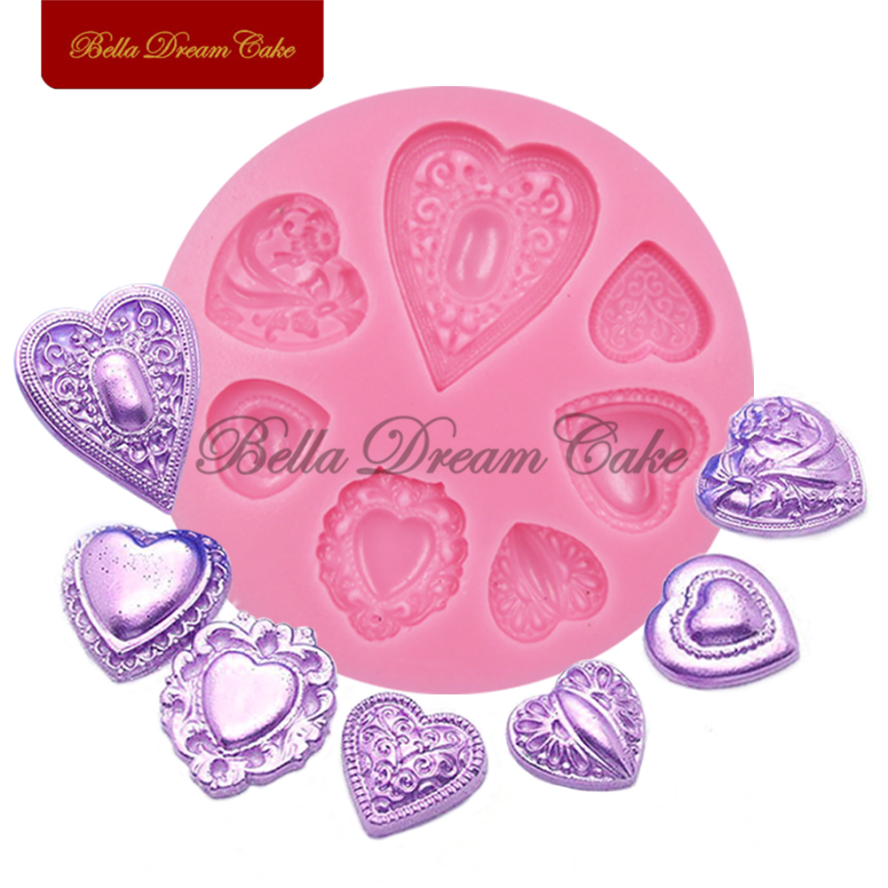 Heart Jewelry Diamonds Silicone Mold for Fondant Cake Decorations Chocolate Cupcake Moulds Baking Cake Decorating Tools SM-220