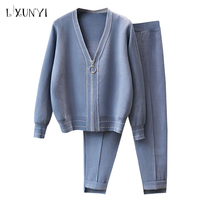 LXUNYI Autumn 2 piece Cardigan Sweater Set women 2018 knitted pant suits Elastic Waist Two piece Woman Set Pants And Tops Solid