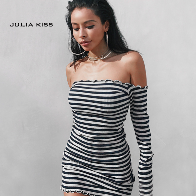 Women Petite Stripe Off Shoulder Dress With Ruffled Trimming Edge