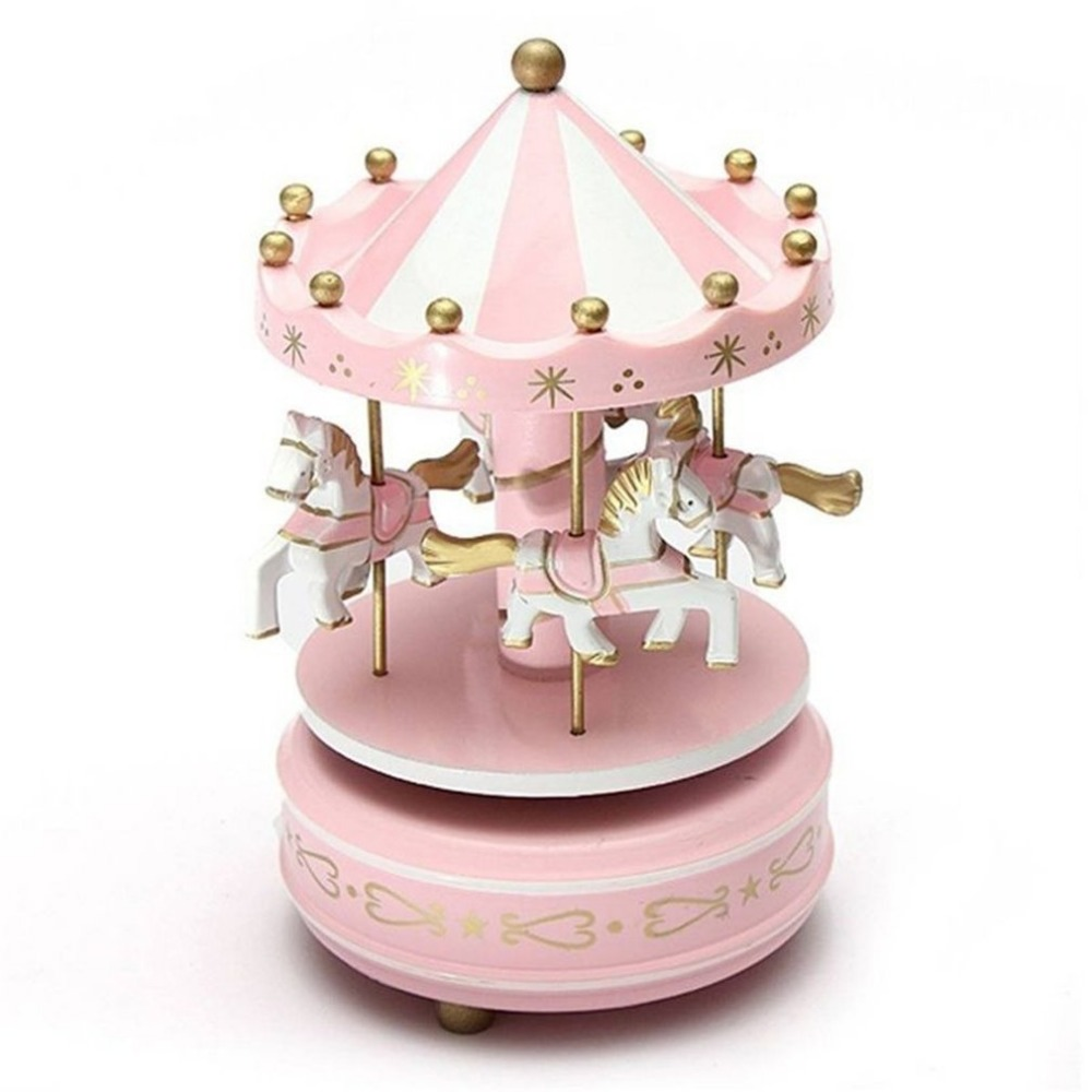Merry-Go-Round Wooden <font><b>Music</b></font> Box Decor Carousel horse <font><b>Music</b></font> Box Christmas Wedding Birthday Gift 2 Colors Drop Shipping