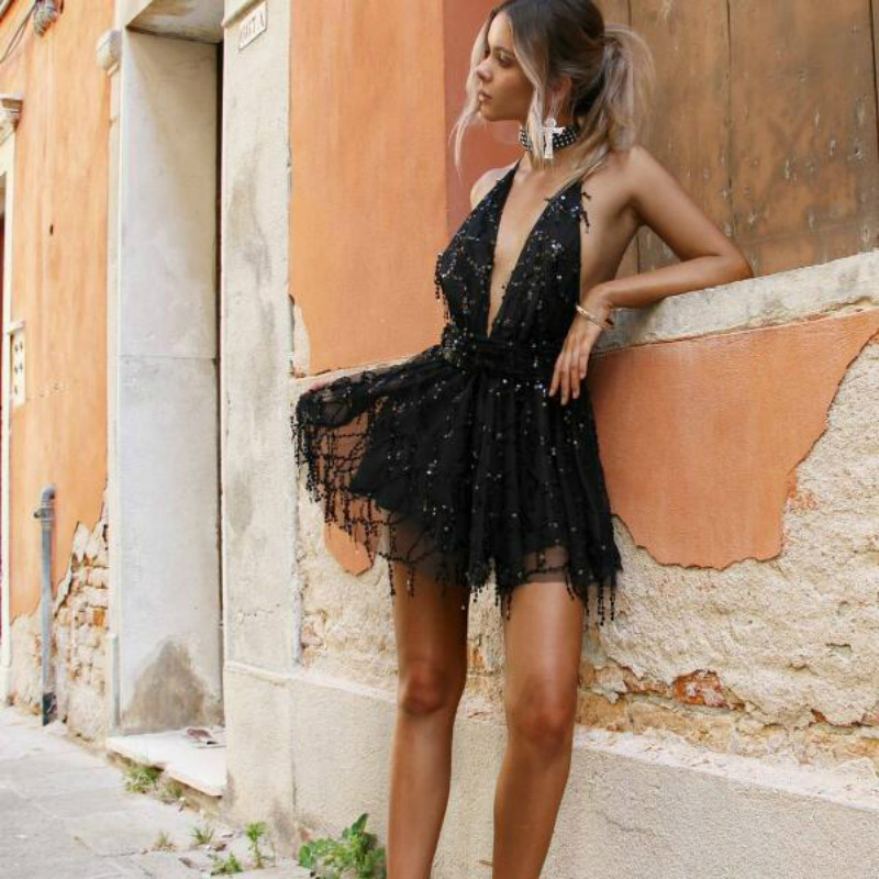 HTB1kzogkIUrBKNjSZPxq6x00pXat - 2018 Party dresses Sexy Dresses Women Backless Halter Black Gold Mini Dress Party Tassel Summer Dress Women Club Wear