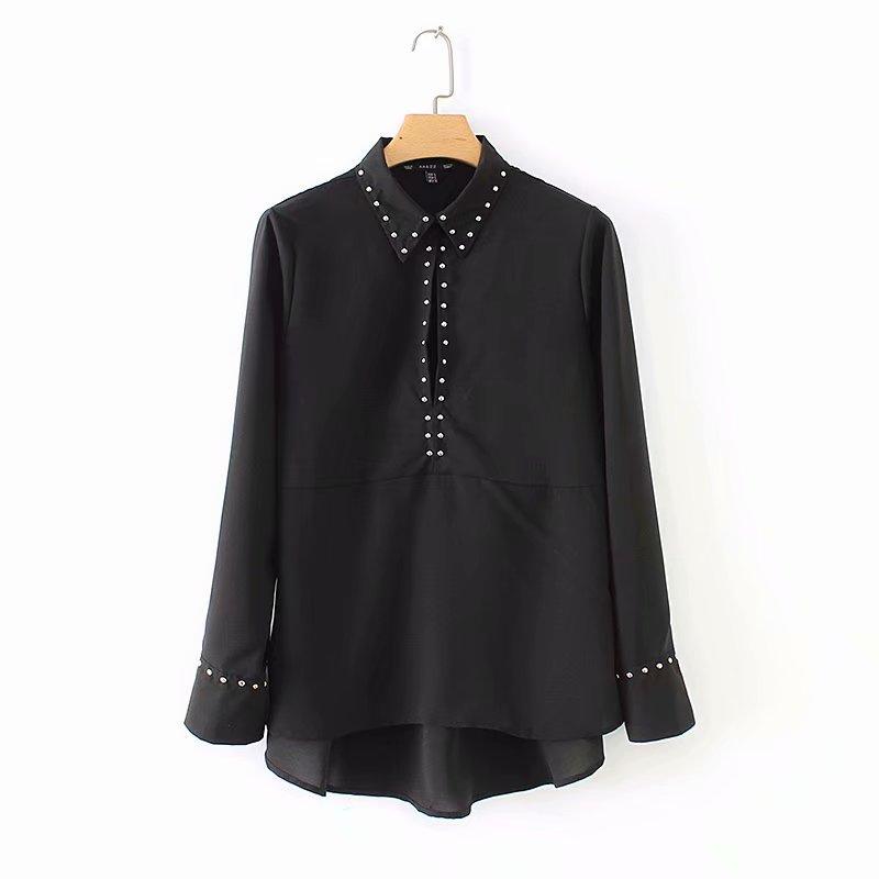 Women's Clothing 2019 Women High Street Laminated Ruffles Solid Color Casual Blouse Shirt Women Pleats Femininas Blusas Autumn Chic Tops Ls2791