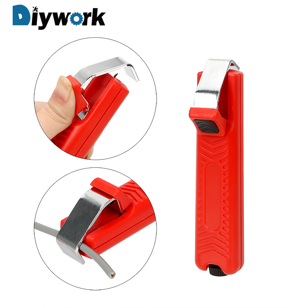 DIYWORK Cable Stripping Knife Adjustable Mini Electrician Knife Wire Stripper Knife 8-28mm Plastic Handle Durable