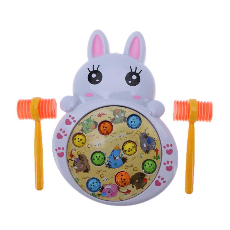 Funny Children Xmas Gift Toy Electric Play Hamster Music Rabbit Hamster Toys Noise Maker Hammer Children Family Games