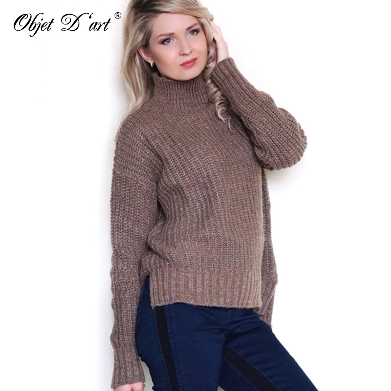 Women's Clothing Sweaters Lace Patchwork Knitted Pullover Women Turtleneck Autumn Winter Pullovers Grade Products According To Quality