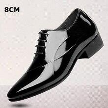 Новый 2017 Классический Черный Лакированной Кожи Повышение Увеличение Лифт Обувь Оксфорд Увеличение Мужчины Высота 8 СМ Незримо