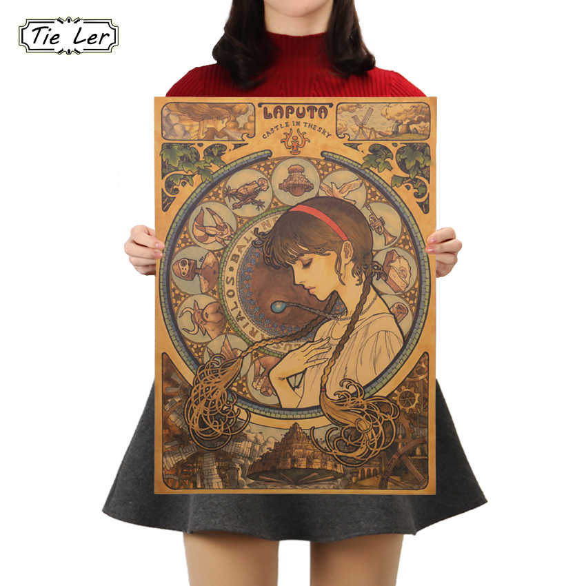 Cartoon Anime Sky City Vintage Kraft Paper Poster High Quality Print Painting Poster Home Decor Wall Decoration Painting 51X36cm