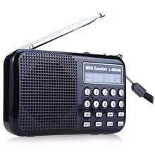 Leory led digital am/fm rádio gravador de voz alto falante usb recarregável portátil tf com mp3 player lanterna led