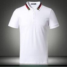 Белые Черные новые английские дизайнерские футболки-поло США для мужчин с коротким рукавом одноцветные дышащие рубашки размера плюс 4XL 5XL 81855