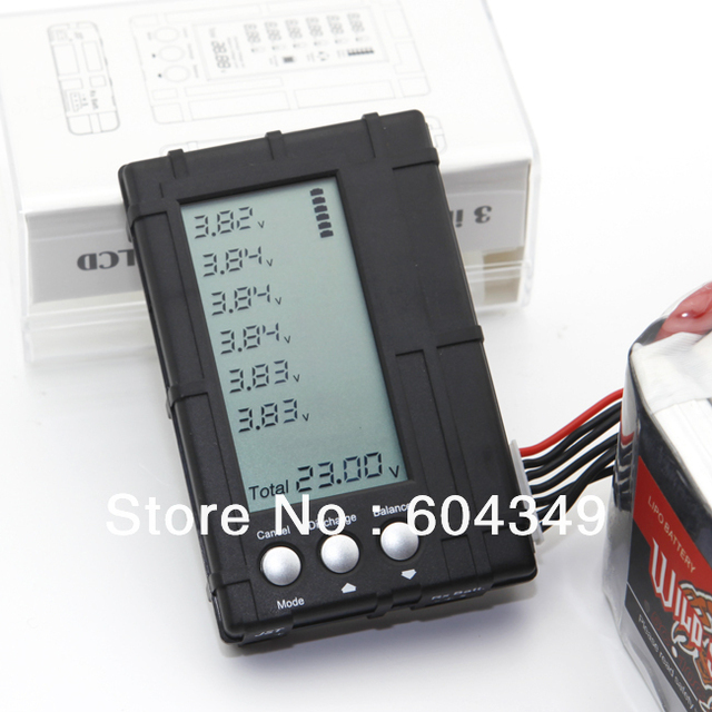 AOK RC 2s-6s lipo li-fe Battery Balance Lcd Voltage Meter Tester and Discharge 3 in1 Black