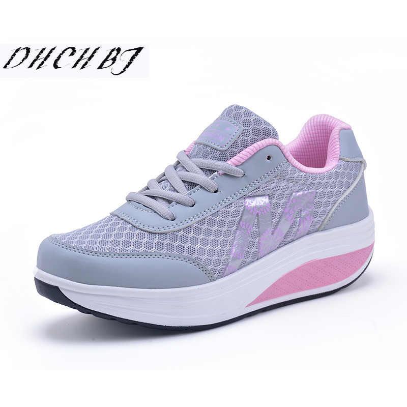 2018 מקרית נעלי נשים פלטפורמת דירות גברת יופי תפירת כושר נעל חדש טרנדי בריאות טריזים סניקרס גודל 35-40