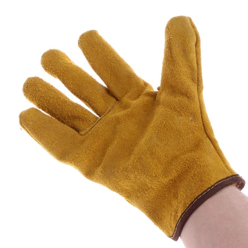 1Pair Cowhide Safety Protective Gloves Welding Welder Work Repair Wear-Resistant