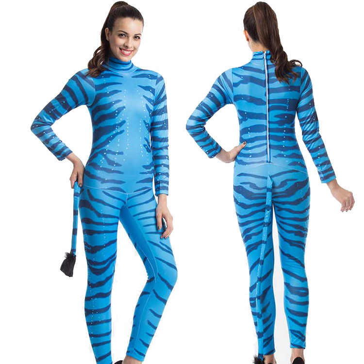 3de9ca78fcc Plus Size Women Blue Tiger Catsuit with Tail Halloween Animal Cosplay  Costume Adult Women Party Catsuit